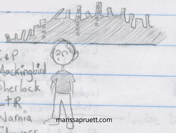 cartoon boy and ruined city