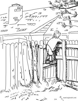 girl on fence5bw