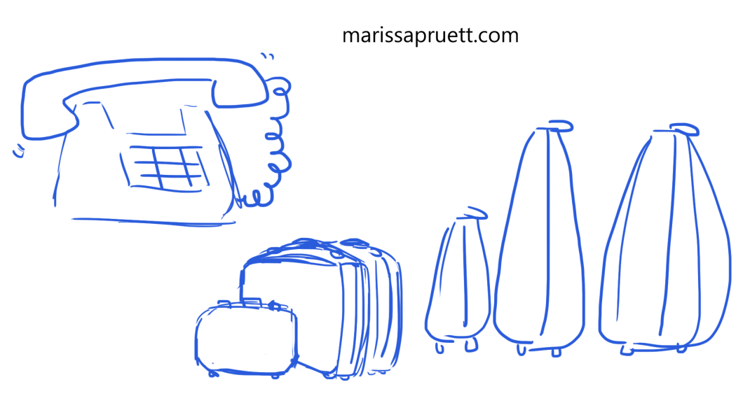 phone and suitcases